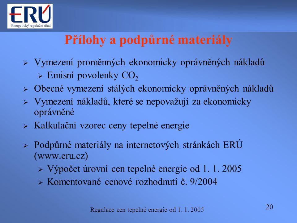 Regulace cen tepelné energie od 1. 1. 2005 20 Přílohy a podpůrné materiály  Vymezení proměnných ekonomicky oprávněných nákladů  Emisní povolenky CO