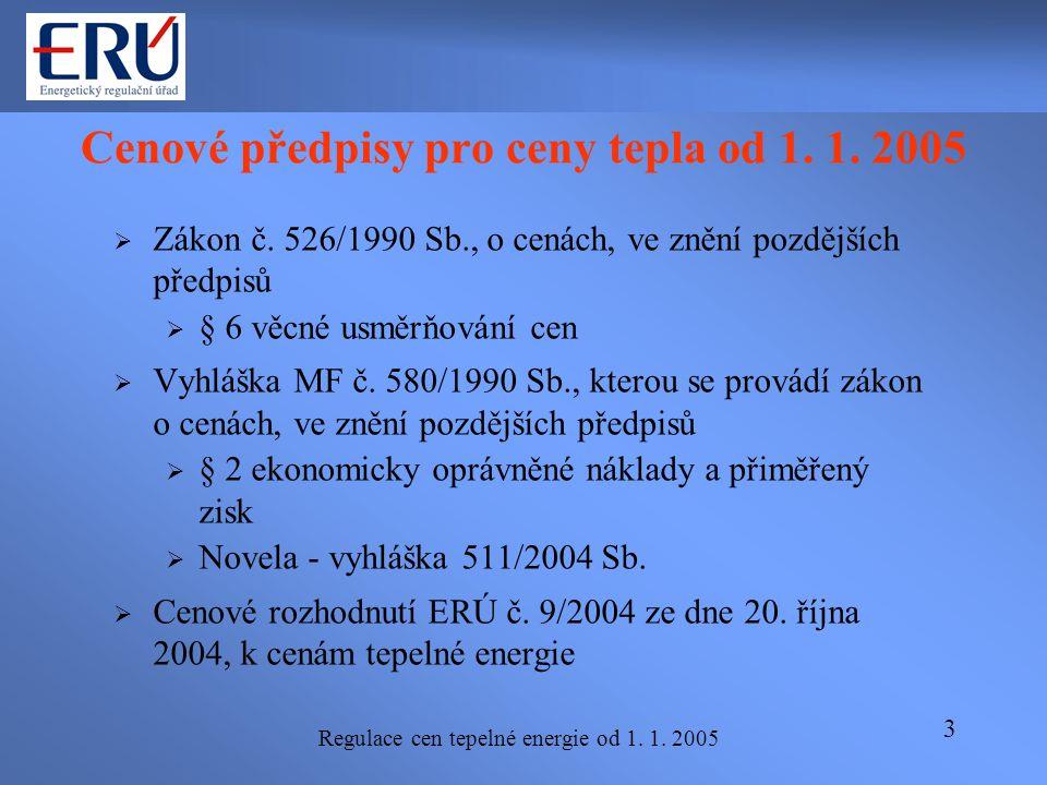 Regulace cen tepelné energie od 1. 1. 2005 3 Cenové předpisy pro ceny tepla od 1. 1. 2005  Zákon č. 526/1990 Sb., o cenách, ve znění pozdějších předp