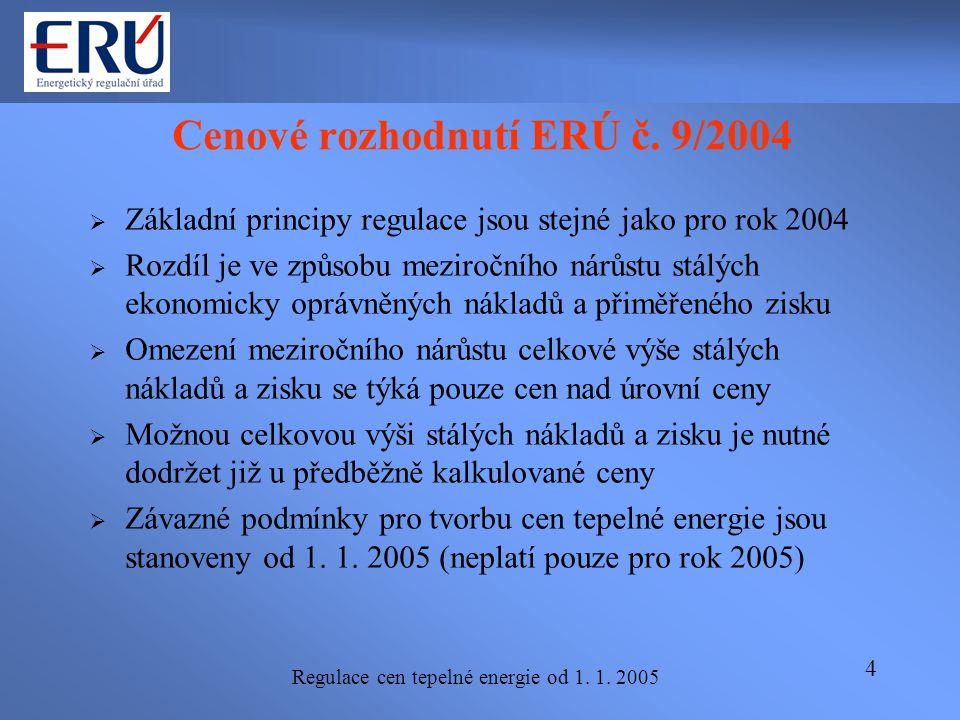 Regulace cen tepelné energie od 1. 1. 2005 4 Cenové rozhodnutí ERÚ č. 9/2004  Základní principy regulace jsou stejné jako pro rok 2004  Rozdíl je ve