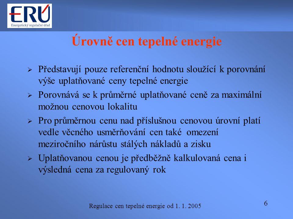 Regulace cen tepelné energie od 1. 1. 2005 6 Úrovně cen tepelné energie  Představují pouze referenční hodnotu sloužící k porovnání výše uplatňované c