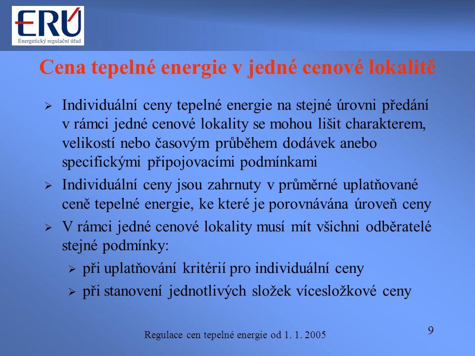 Regulace cen tepelné energie od 1. 1. 2005 9 Cena tepelné energie v jedné cenové lokalitě  Individuální ceny tepelné energie na stejné úrovni předání