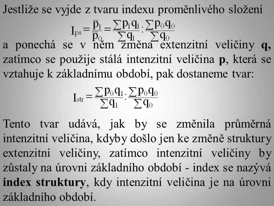 Jestliže se vyjde z tvaru indexu proměnlivého složení a ponechá se v něm změna extenzitní veličiny q, zatímco se použije stálá intenzitní veličina p, která se vztahuje k základnímu období, pak dostaneme tvar: Tento tvar udává, jak by se změnila průměrná intenzitní veličina, kdyby došlo jen ke změně struktury extenzitní veličiny, zatímco intenzitní veličiny by zůstaly na úrovni základního období - index se nazývá index struktury, kdy intenzitní veličina je na úrovni základního období.