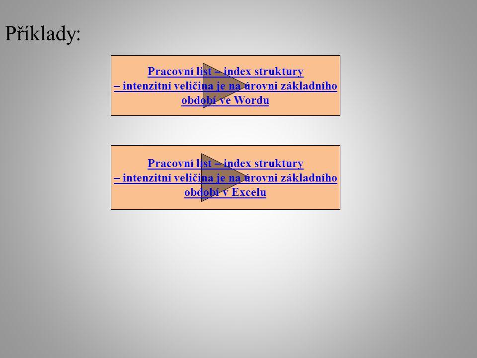 Příklady: Pracovní list – index struktury – intenzitní veličina je na úrovni základního období ve Wordu Pracovní list – index struktury – intenzitní veličina je na úrovni základního období v Excelu