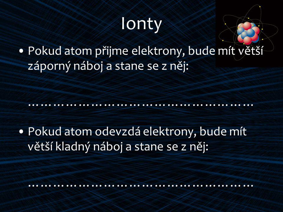 Ionty Pokud atom přijme elektrony, bude mít větší záporný náboj a stane se z něj: ……………………………………………… Pokud atom odevzdá elektrony, bude mít větší kladný náboj a stane se z něj: ………………………………………………