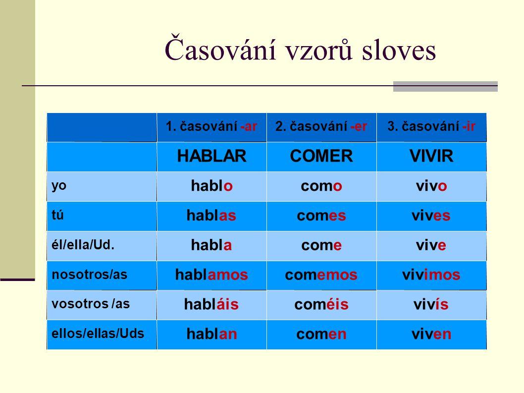 Časování vzorů sloves