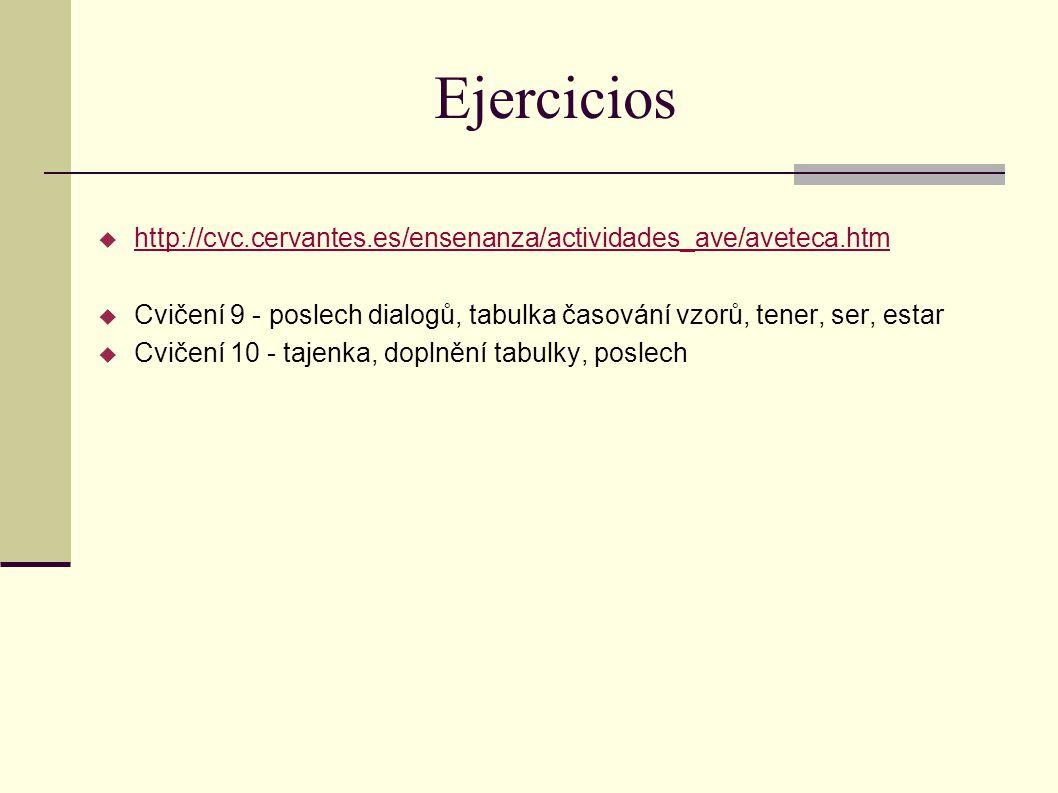 Ejercicios  http://cvc.cervantes.es/ensenanza/actividades_ave/aveteca.htm http://cvc.cervantes.es/ensenanza/actividades_ave/aveteca.htm  Cvičení 9 -
