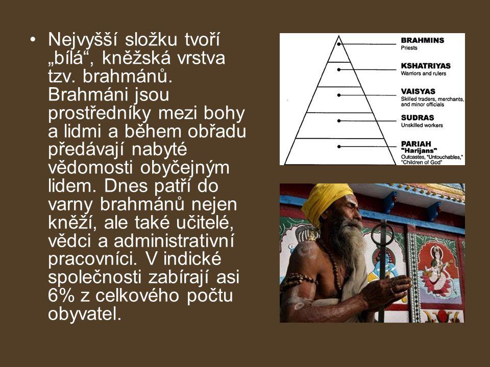 """Nejvyšší složku tvoří """"bílá"""", kněžská vrstva tzv. brahmánů. Brahmáni jsou prostředníky mezi bohy a lidmi a během obřadu předávají nabyté vědomosti oby"""
