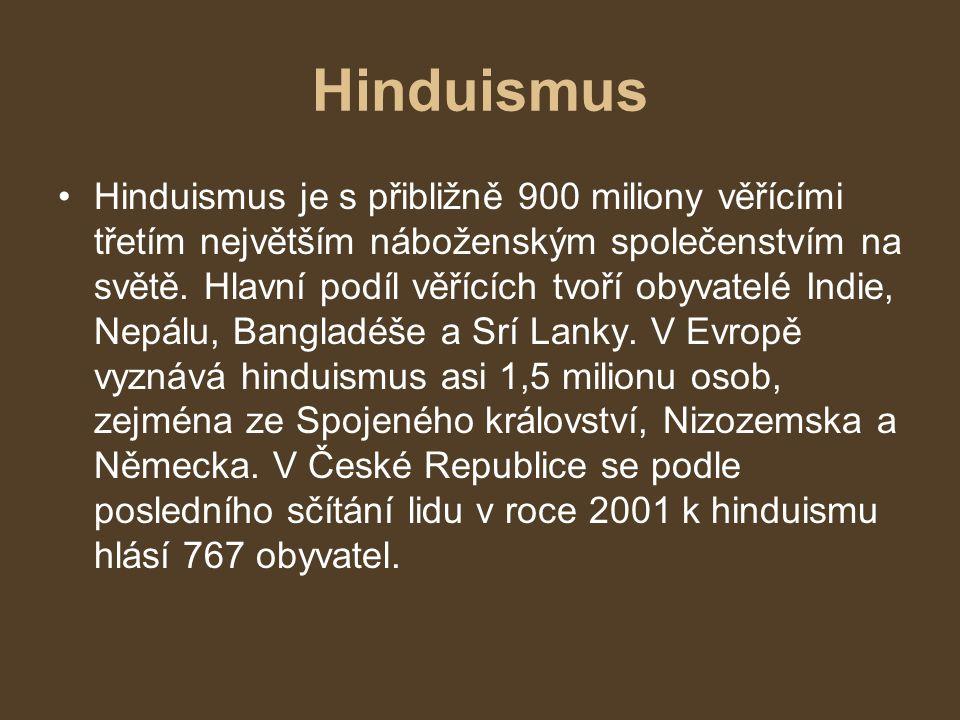 Hinduismus Hinduismus je s přibližně 900 miliony věřícími třetím největším náboženským společenstvím na světě. Hlavní podíl věřících tvoří obyvatelé I