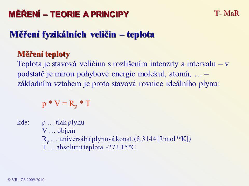 T- MaR MĚŘENÍ – TEORIE A PRINCIPY © VR - ZS 2009/2010 A Měření fyzikálních veličin – teplota Měření teploty Teplota je stavová veličina s rozlišením i