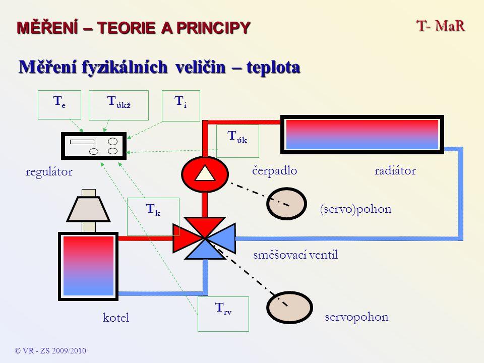 T- MaR MĚŘENÍ – TEORIE A PRINCIPY © VR - ZS 2009/2010 Měření fyzikálních veličin – teplota kotel radiátor směšovací ventil regulátor servopohon TeTe T