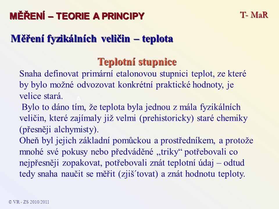T- MaR MĚŘENÍ – TEORIE A PRINCIPY © VR - ZS 2010/2011 A Měření fyzikálních veličin – teplota Teplotní stupnice Snaha definovat primární etalonovou stu
