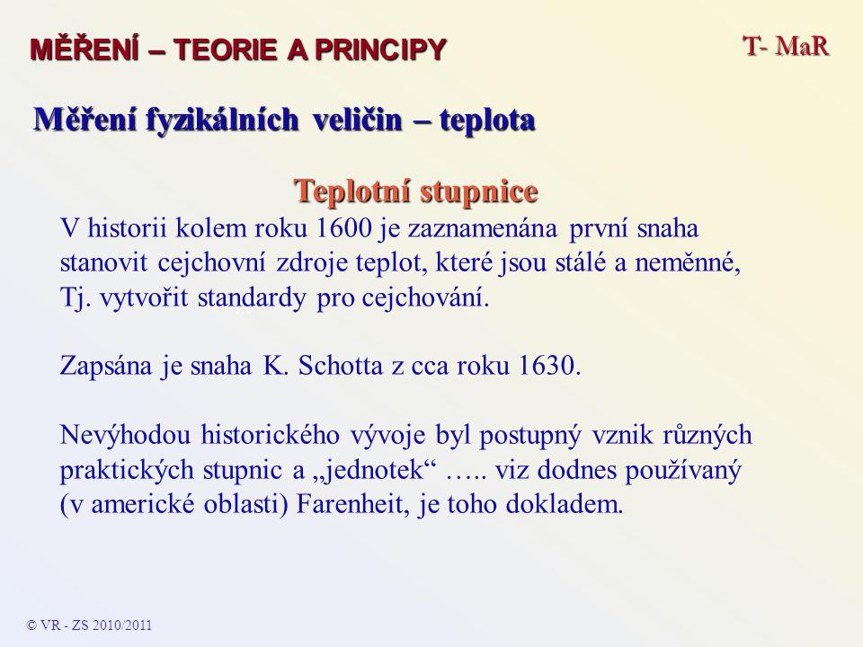 T- MaR MĚŘENÍ – TEORIE A PRINCIPY © VR - ZS 2010/2011 A Měření fyzikálních veličin – teplota Teplotní stupnice V historii kolem roku 1600 je zaznamená