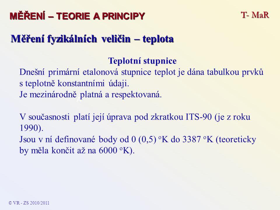 T- MaR MĚŘENÍ – TEORIE A PRINCIPY © VR - ZS 2010/2011 A Měření fyzikálních veličin – teplota Teplotní stupnice Dnešní primární etalonová stupnice tepl