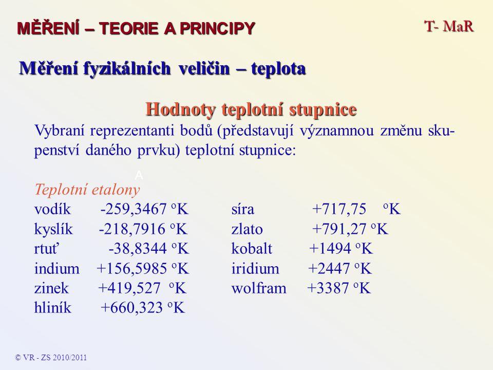 T- MaR MĚŘENÍ – TEORIE A PRINCIPY © VR - ZS 2010/2011 A Měření fyzikálních veličin – teplota Hodnoty teplotní stupnice Vybraní reprezentanti bodů (pře