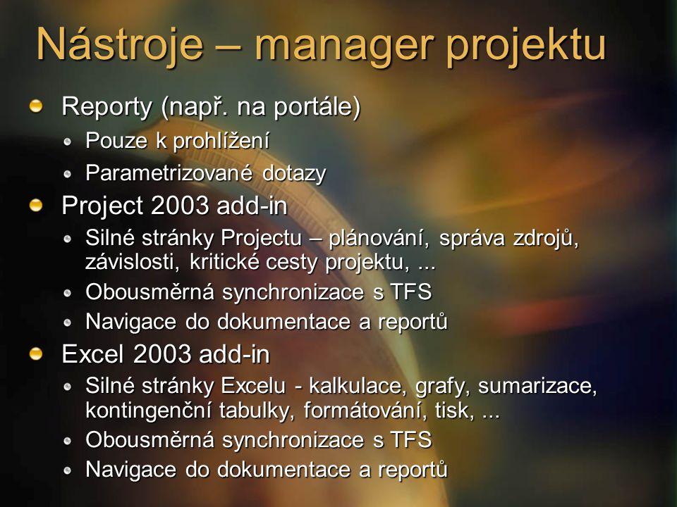 Nástroje – manager projektu Reporty (např. na portále) Pouze k prohlížení Parametrizované dotazy Project 2003 add-in Silné stránky Projectu – plánován