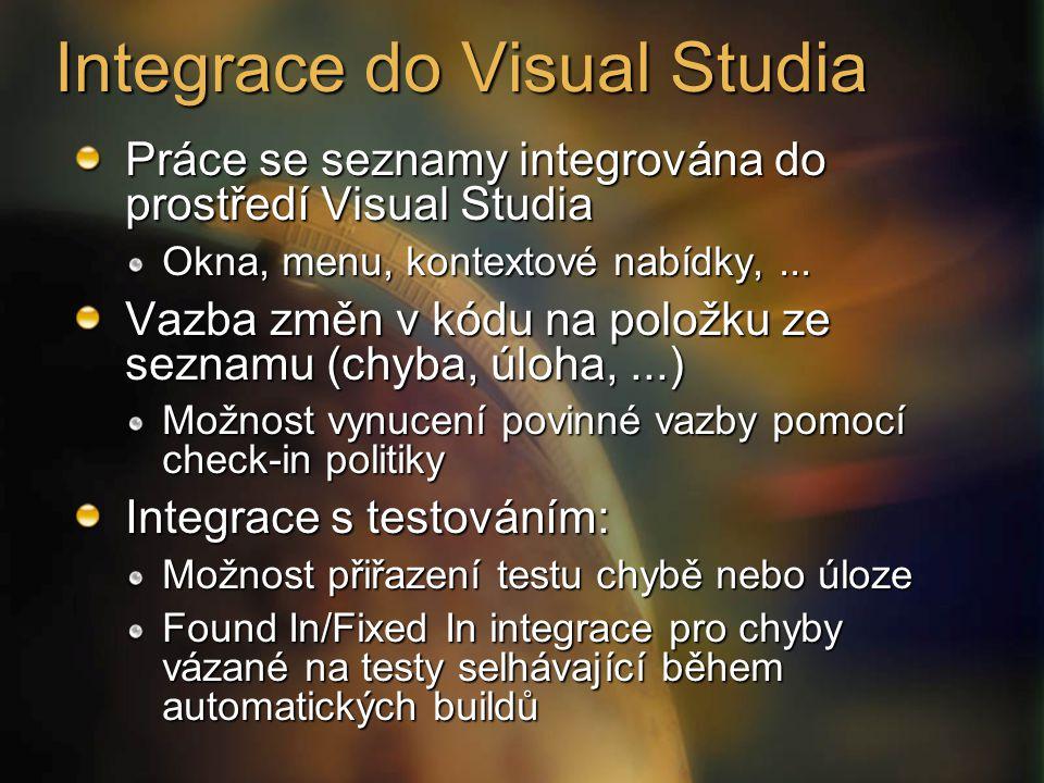 Práce se seznamy integrována do prostředí Visual Studia Okna, menu, kontextové nabídky,... Vazba změn v kódu na položku ze seznamu (chyba, úloha,...)
