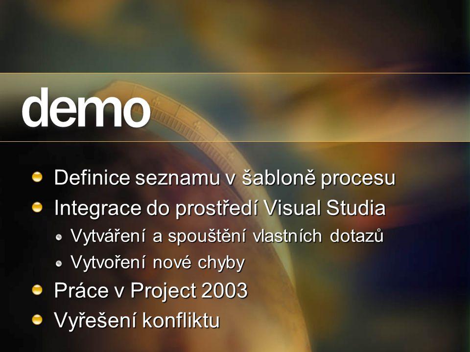 Definice seznamu v šabloně procesu Integrace do prostředí Visual Studia Vytváření a spouštění vlastních dotazů Vytvoření nové chyby Práce v Project 20