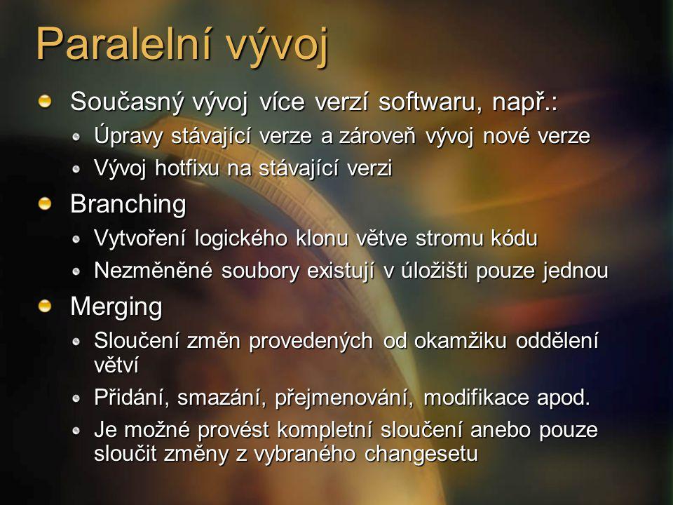 Paralelní vývoj Současný vývoj více verzí softwaru, např.: Úpravy stávající verze a zároveň vývoj nové verze Vývoj hotfixu na stávající verzi Branchin