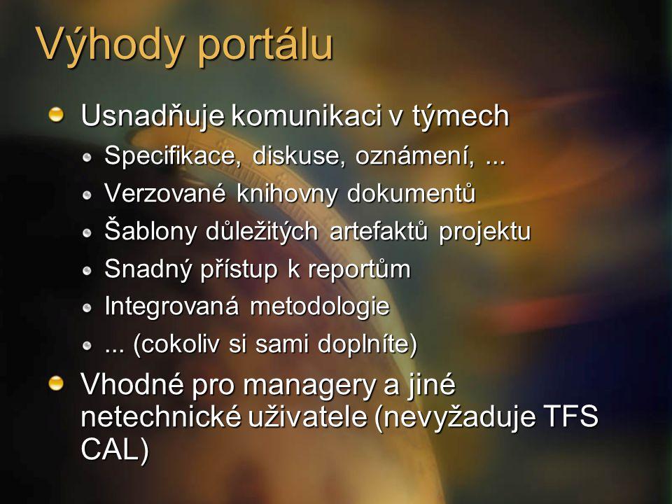 Výhody portálu Usnadňuje komunikaci v týmech Specifikace, diskuse, oznámení,... Verzované knihovny dokumentů Šablony důležitých artefaktů projektu Sna
