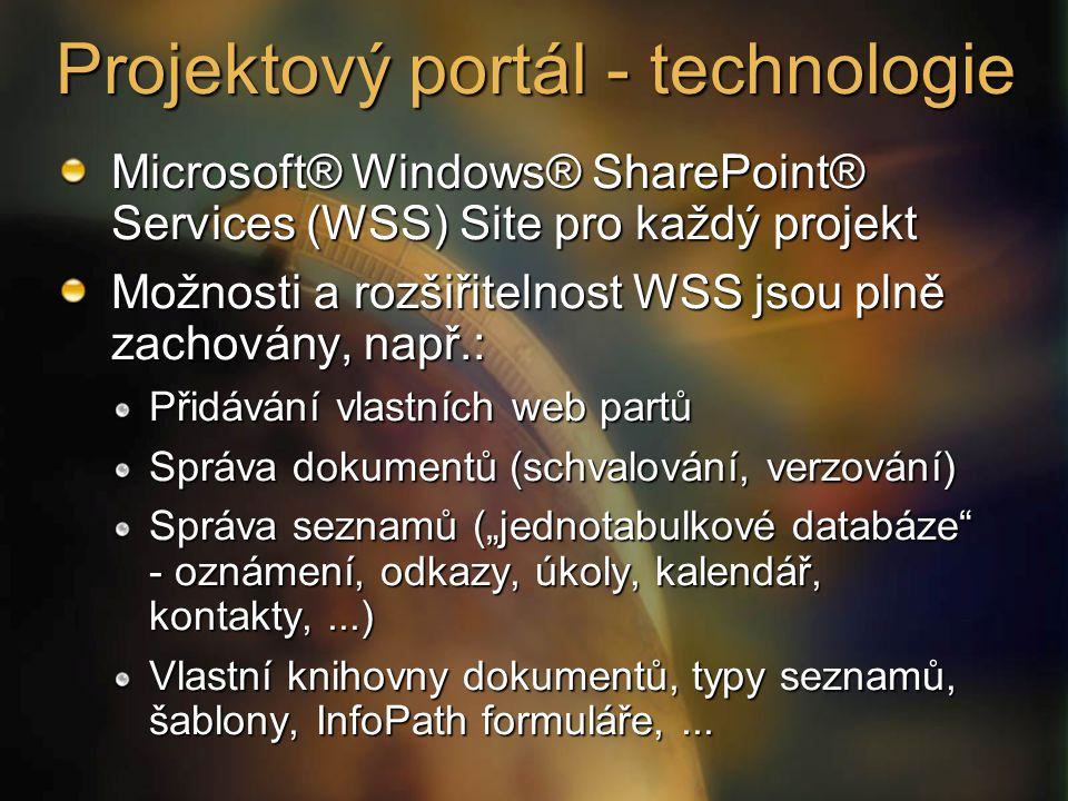 Projektový portál - technologie Microsoft® Windows® SharePoint® Services (WSS) Site pro každý projekt Možnosti a rozšiřitelnost WSS jsou plně zachován