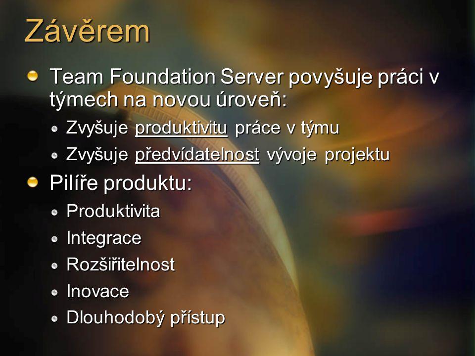 Závěrem Team Foundation Server povyšuje práci v týmech na novou úroveň: Zvyšuje produktivitu práce v týmu Zvyšuje předvídatelnost vývoje projektu Pilí