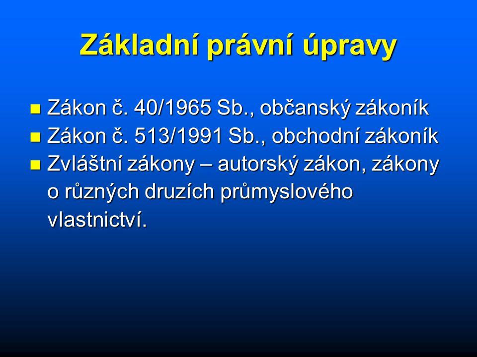 Základní právní úpravy n Zákon č.40/1965 Sb., občanský zákoník n Zákon č.