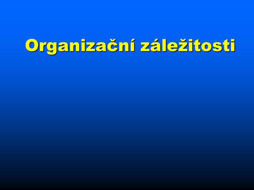 Způsob výuky n Zdroje informací: prezentace (budou k dispozici v PDF) & literatura n Vzhledem k rozsahu látky a možnostem výuky na VŠFS literatura NEZBYTNÁ n Dívejte se na web a na e-maily (příp.