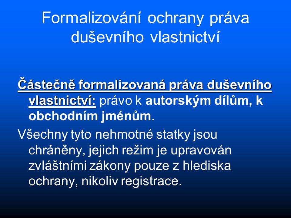 Formalizování ochrany práva duševního vlastnictví Částečně formalizovaná práva duševního vlastnictví: Částečně formalizovaná práva duševního vlastnict