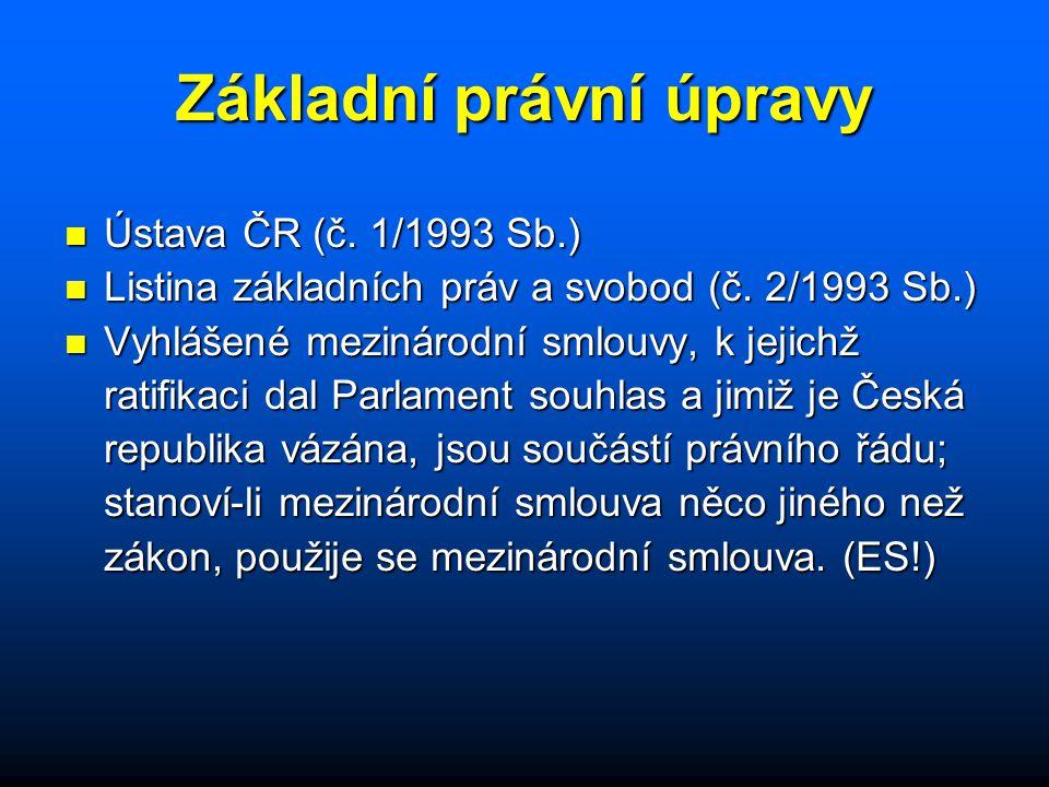 Základní právní úpravy n Ústava ČR (č. 1/1993 Sb.) n Listina základních práv a svobod (č. 2/1993 Sb.) n Vyhlášené mezinárodní smlouvy, k jejichž ratif