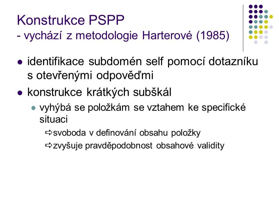 Konstrukce PSPP - vychází z metodologie Harterové (1985) identifikace subdomén self pomocí dotazníku s otevřenými odpověďmi konstrukce krátkých subškál vyhýbá se položkám se vztahem ke specifické situaci  svoboda v definování obsahu položky  zvyšuje pravděpodobnost obsahové validity