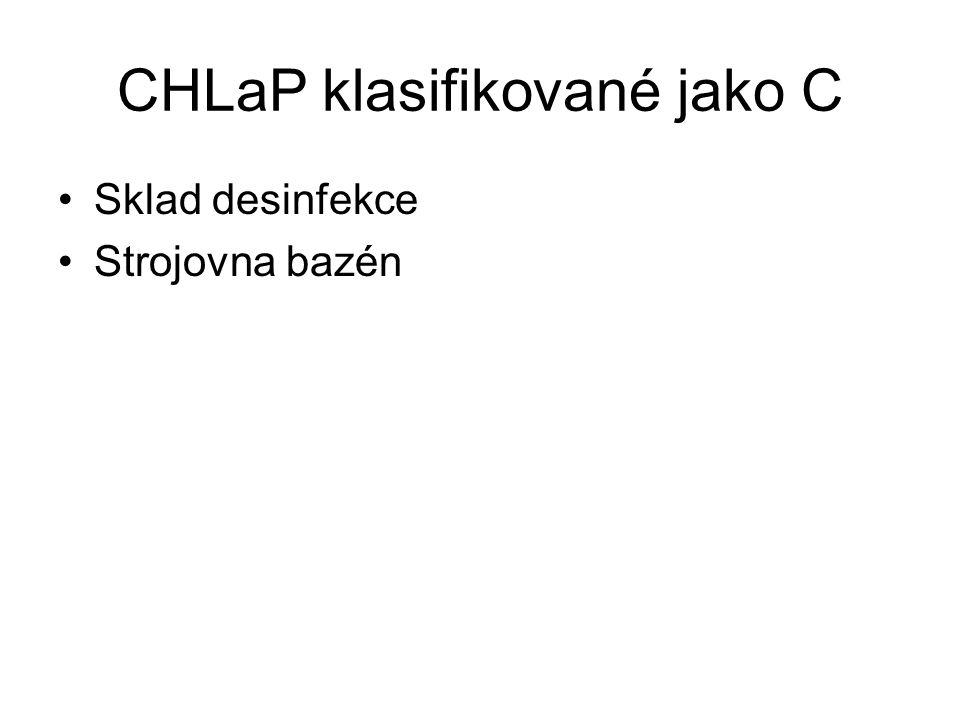 CHLaP klasifikované jako C Sklad desinfekce Strojovna bazén