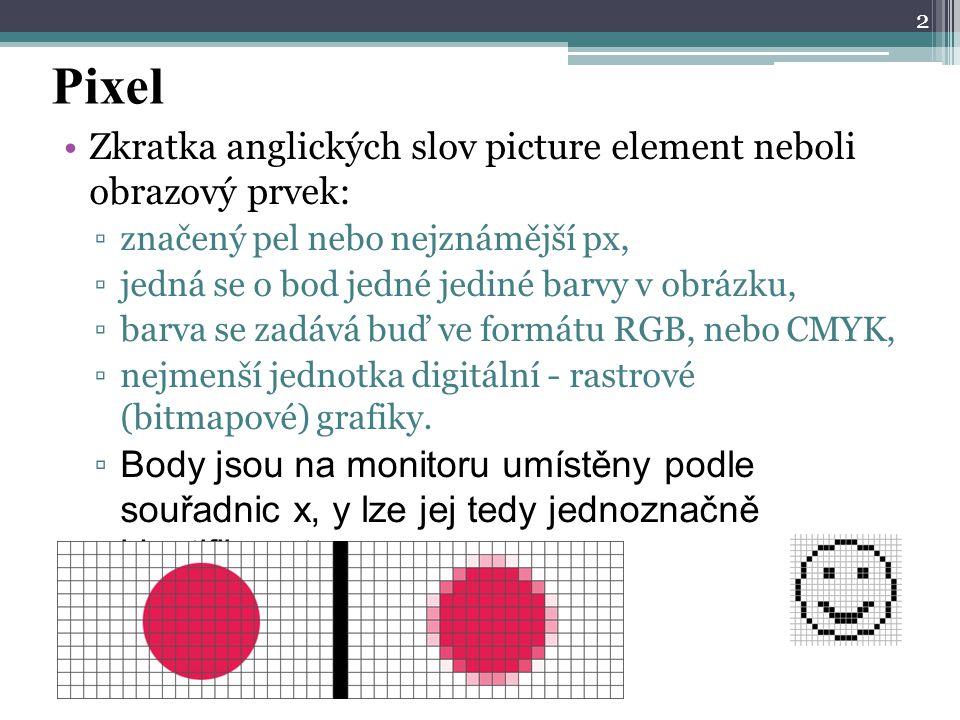 Pixel Zkratka anglických slov picture element neboli obrazový prvek: ▫značený pel nebo nejznámější px, ▫jedná se o bod jedné jediné barvy v obrázku, ▫