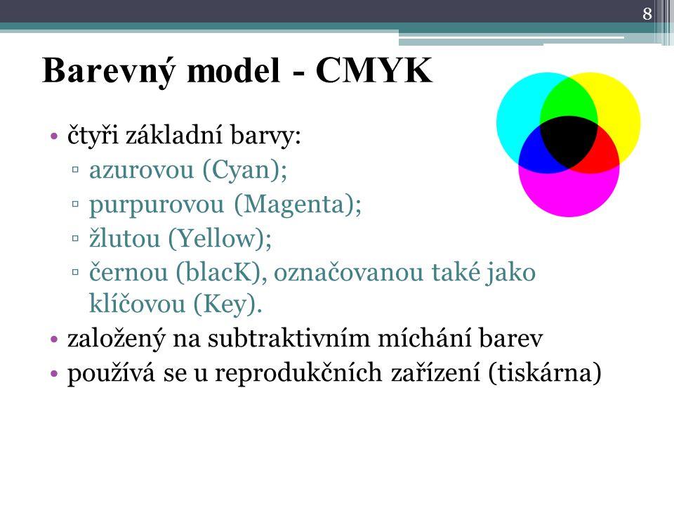 Barevný model - CMYK čtyři základní barvy: ▫azurovou (Cyan); ▫purpurovou (Magenta); ▫žlutou (Yellow); ▫černou (blacK), označovanou také jako klíčovou