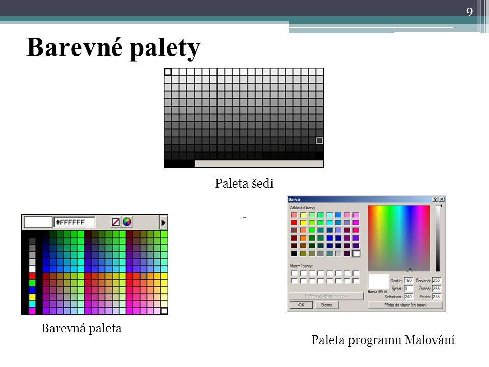 Bity Počet bodů a barevná hloubka  Závisí velikost souboru ▫Počet bodů obrázku  šířka (počet bodů) x výška (počet bodů)  1600 x 1200 = 1920000 ▫Barevná hloubka  2 barvy (černá, bílá - pérovka) – 1 b/bod = 1/8 B/bod  1600 x 1200 x 1/8 = 240000 B = 234,4 kB  256 barev – 1 B/bod  1600 x 1200 x 1 = 1920000 B = 1875 kB = 1,83 MB  256 odstínů šedi (černobílá fotografie) – 1 B/bod  1600 x 1200 x 1 = 1920000 B = 1875 kB = 1,83 MB  16,7mil barev (barevná fotografie) – 3 B/bod  1600 x 1200 x 3 = 5760000 B = 5625 kB = 5,49 MB 10