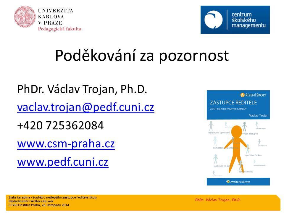 PhDr. Václav Trojan, Ph.D. Poděkování za pozornost PhDr. Václav Trojan, Ph.D. vaclav.trojan@pedf.cuni.cz +420 725362084 www.csm-praha.cz www.pedf.cuni
