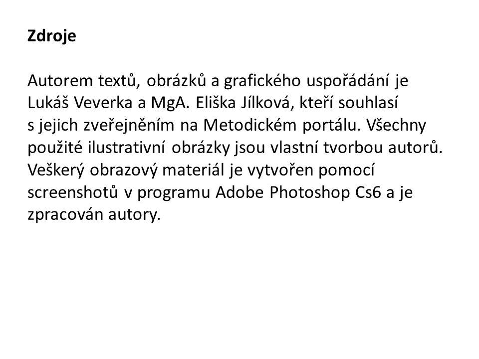 Zdroje Autorem textů, obrázků a grafického uspořádání je Lukáš Veverka a MgA. Eliška Jílková, kteří souhlasí s jejich zveřejněním na Metodickém portál