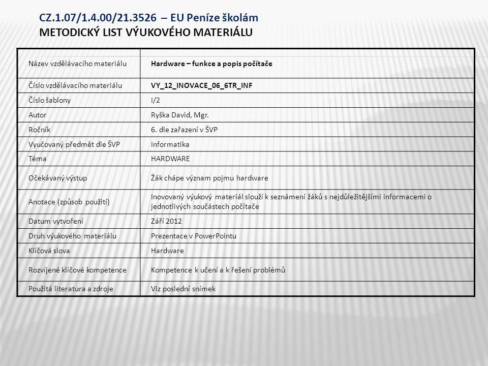 Název vzdělávacího materiáluHardware – funkce a popis počítače Číslo vzdělávacího materiáluVY_12_INOVACE_06_6TR_INF Číslo šablonyI/2 AutorRyška David, Mgr.