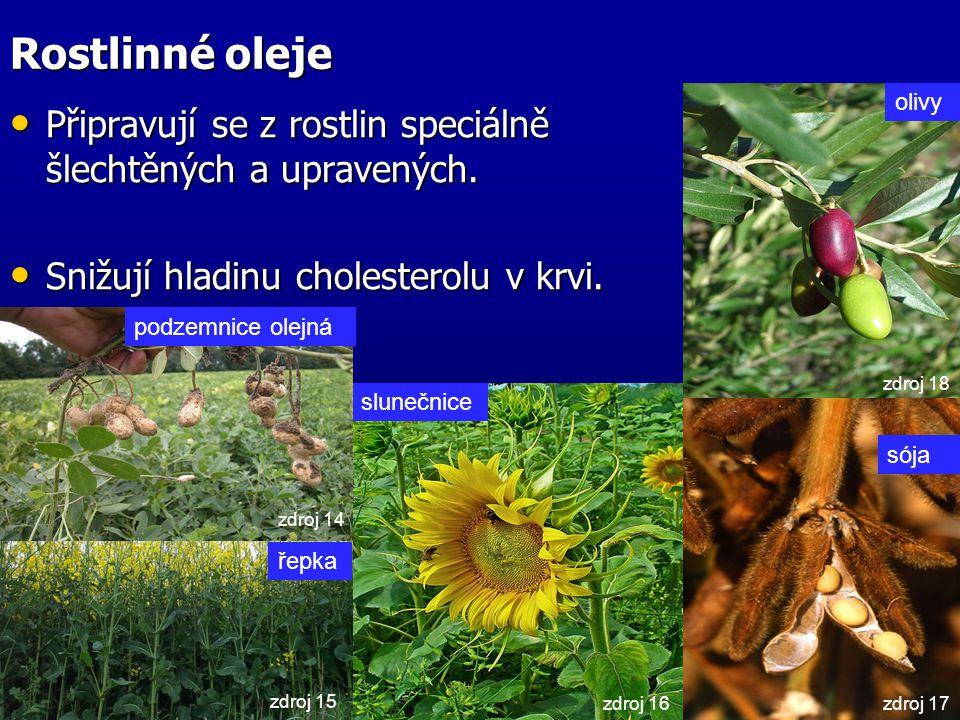 Rostlinné oleje Připravují se z rostlin speciálně šlechtěných a upravených. Připravují se z rostlin speciálně šlechtěných a upravených. Snižují hladin