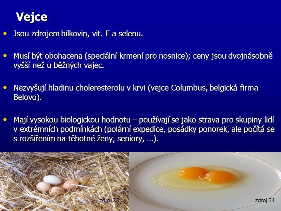 Vejce Jsou zdrojem bílkovin, vit. E a selenu. Jsou zdrojem bílkovin, vit. E a selenu. Musí být obohacena (speciální krmení pro nosnice); ceny jsou dvo