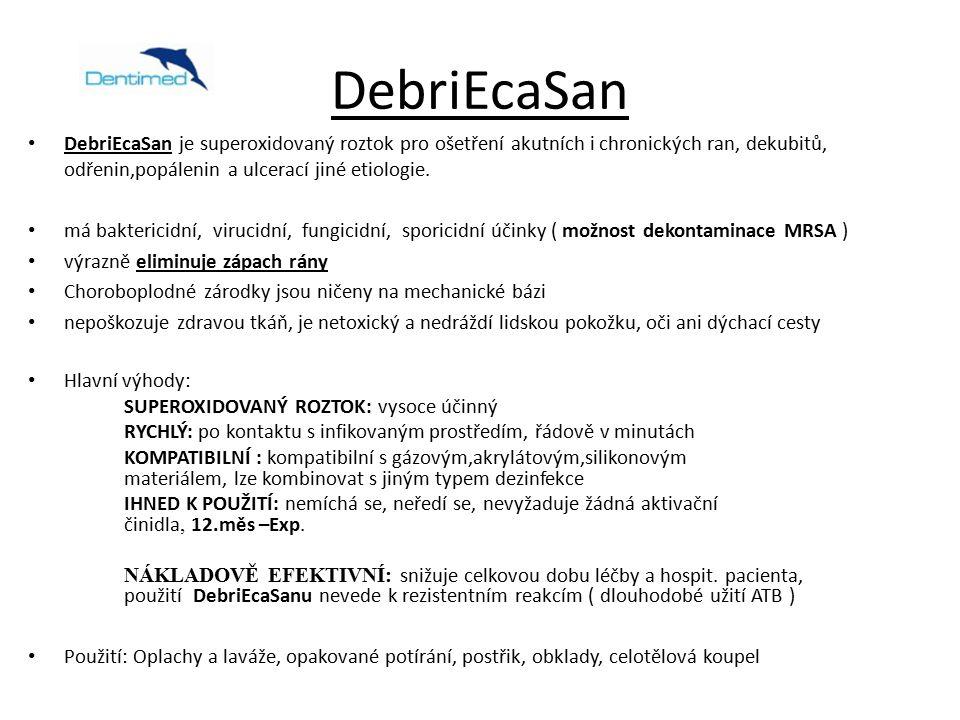 DebriEcaSan DebriEcaSan je superoxidovaný roztok pro ošetření akutních i chronických ran, dekubitů, odřenin,popálenin a ulcerací jiné etiologie.