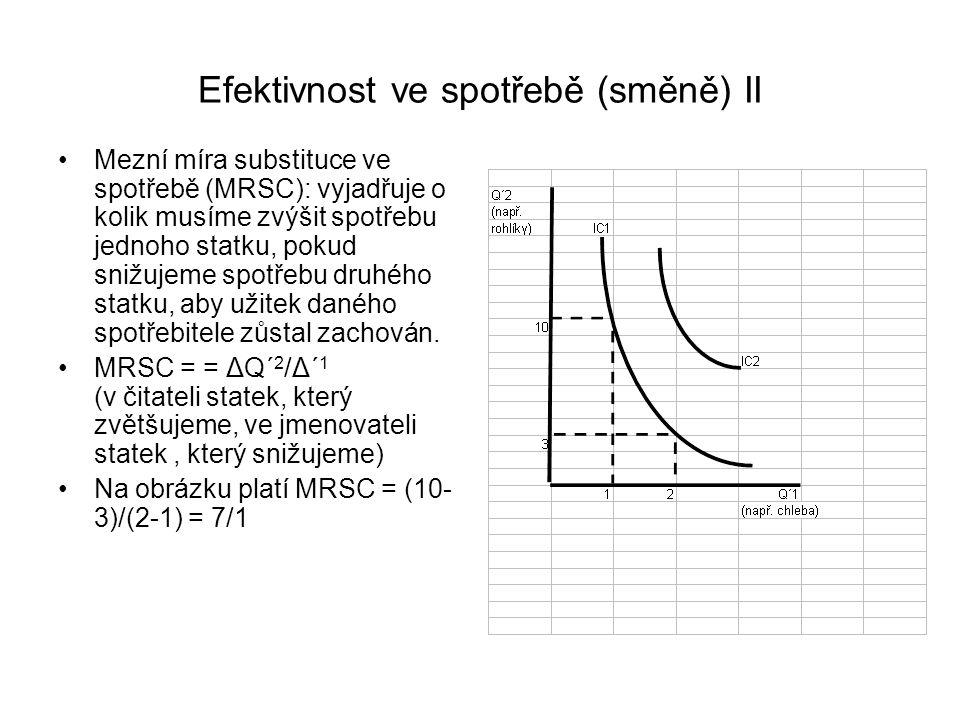 Efektivnost ve spotřebě (směně) II Mezní míra substituce ve spotřebě (MRSC): vyjadřuje o kolik musíme zvýšit spotřebu jednoho statku, pokud snižujeme