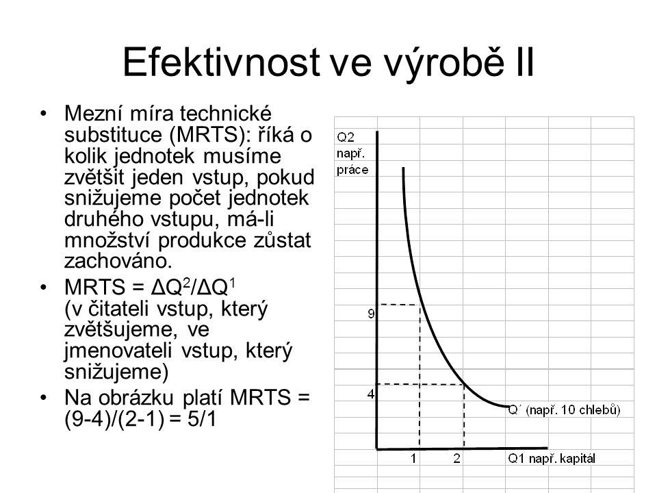 Efektivnost ve výrobě II Mezní míra technické substituce (MRTS): říká o kolik jednotek musíme zvětšit jeden vstup, pokud snižujeme počet jednotek druh
