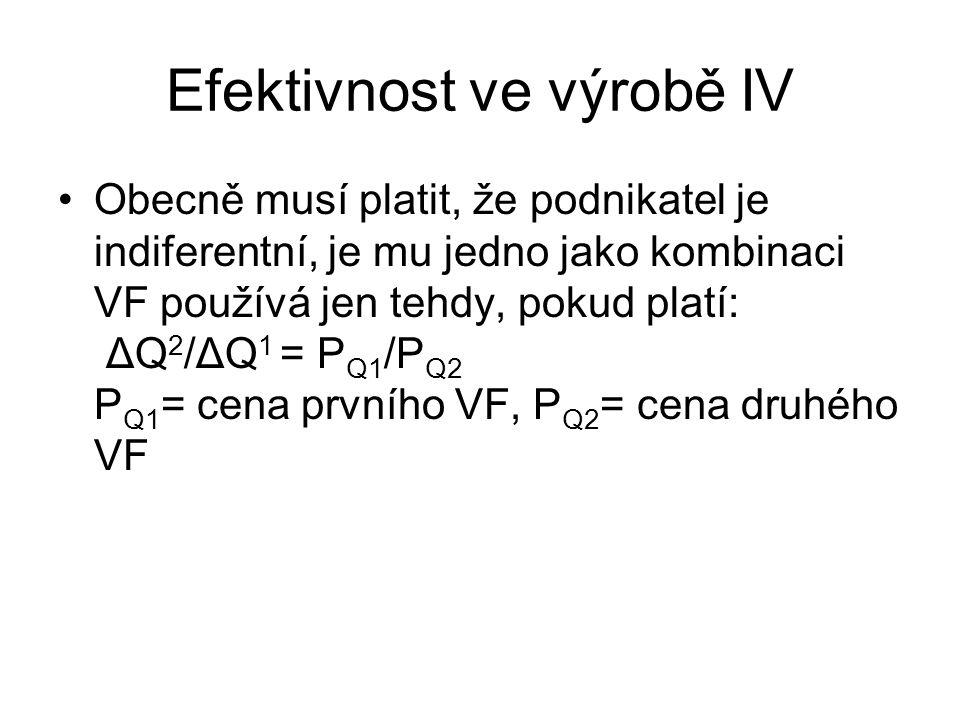 Efektivnost ve výrobě IV Obecně musí platit, že podnikatel je indiferentní, je mu jedno jako kombinaci VF používá jen tehdy, pokud platí: ΔQ 2 /ΔQ 1 =