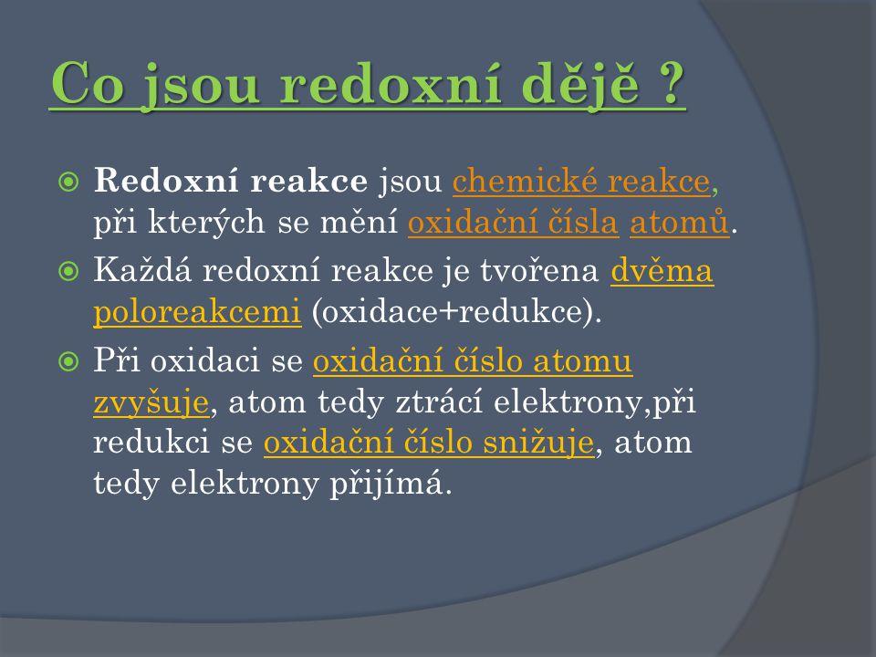 Co jsou redoxní dějě ?  Redoxní reakce jsou chemické reakce, při kterých se mění oxidační čísla atomů.chemické reakceoxidační číslaatomů  Každá redo