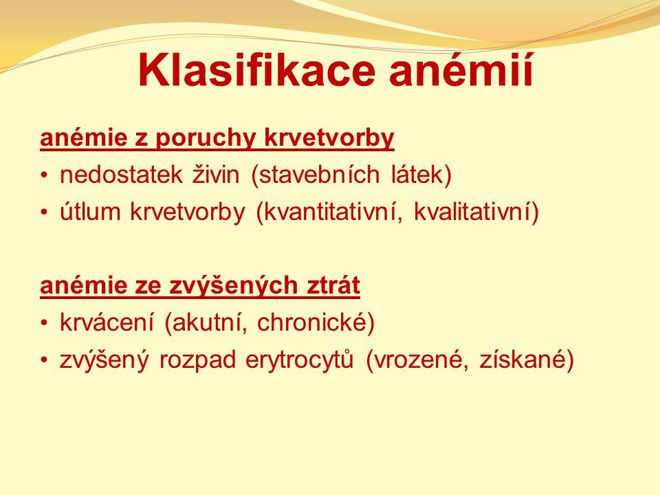 Klasifikace anémií anémie z poruchy krvetvorby nedostatek živin (stavebních látek) útlum krvetvorby (kvantitativní, kvalitativní) anémie ze zvýšených