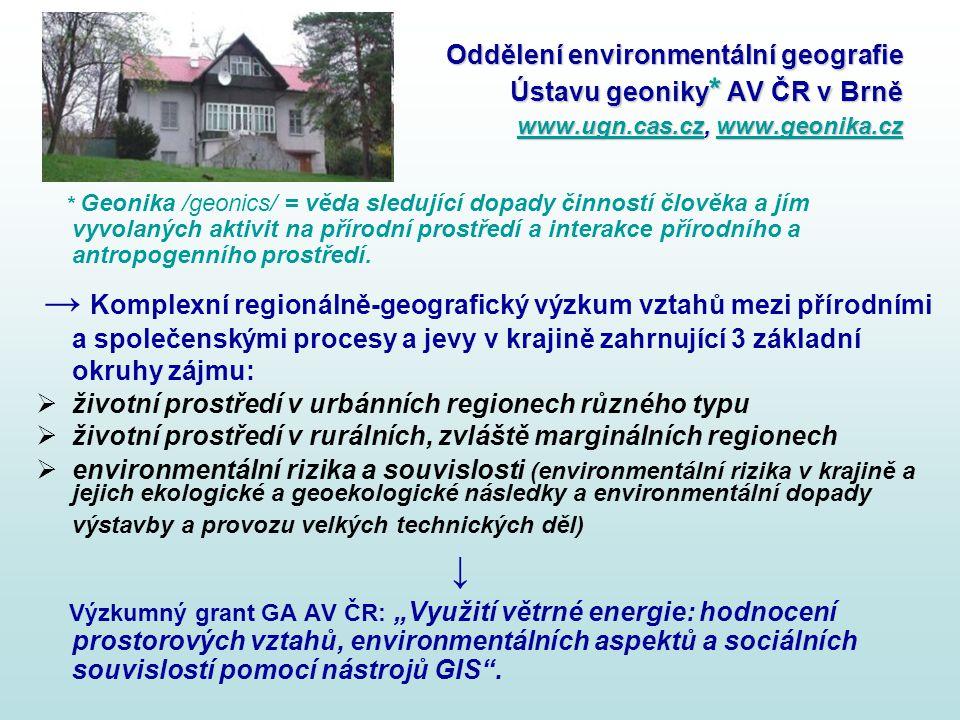 Oddělení environmentální geografie Ústavu geoniky * AV ČR v Brně www.ugn.cas.cz, www.geonika.cz www.ugn.cas.czwww.geonika.cz www.ugn.cas.czwww.geonika