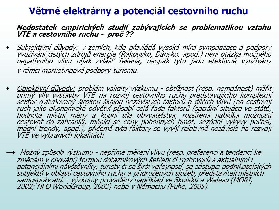Větrné elektrárny a potenciál cestovního ruchu Nedostatek empirických studií zabývajících se problematikou vztahu VTE a cestovního ruchu - proč ?? Sub