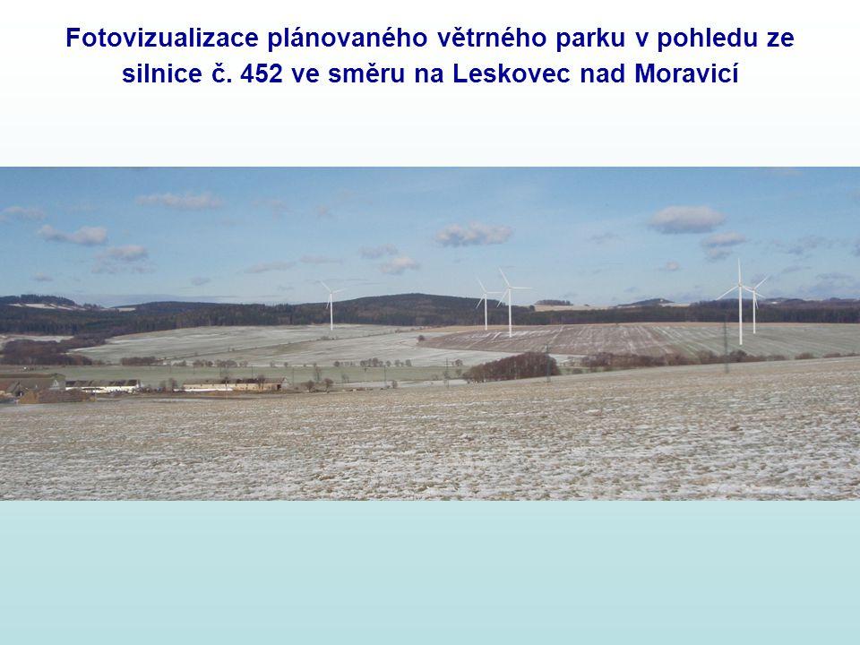 Fotovizualizace plánovaného větrného parku v pohledu ze silnice č. 452 ve směru na Leskovec nad Moravicí