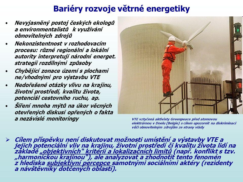 Bariéry rozvoje větrné energetiky Nevyjasněný postoj českých ekologů a environmentalistů k využívání obnovitelných zdrojů Nekonzistentnost v rozhodova