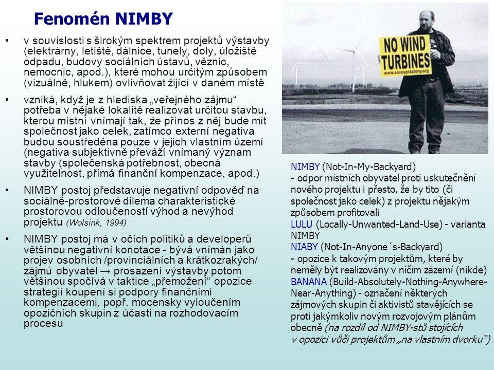 Fenomén NIMBY v souvislosti s širokým spektrem projektů výstavby (elektrárny, letiště, dálnice, tunely, doly, úložiště odpadu, budovy sociálních ústav
